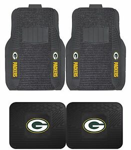 Green Bay Packers Deluxe Floor Mats 2 4 Pc Sets For Cars Trucks Suv S