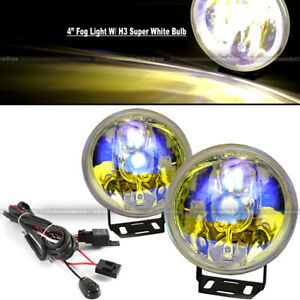 For H3 H1 4 Round Ion Yellow Bumper Driving Fog Light Lamp Kit Complete Set