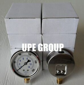 10 Pack Liquid Filled Pressure Gauge Pneumatic 2 5 Dial 200 Psi Lower Mnt 1 4