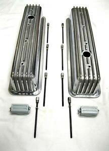 Sbc Chevy 350 Tbi Retro Polished Aluminum Finned Tall Valve Covers Center Bolt