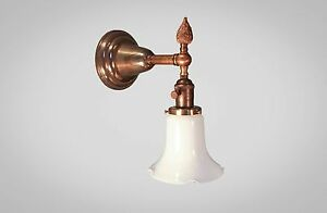 Antique Victorian Wall Sconce Art Deco Lamp W Holophane Steampunk Light