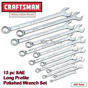 Craftsman Hand Tools 13 Pc Full Polish Long Beam Sae Combination Wrench Set