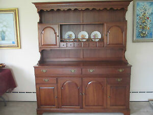 Vintage Pennsylvania House Solid Cherry China Hutch Cabinet Large