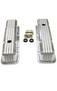 1958 1986 Sbc Chevy 350 Retro Finned Polished Aluminum Tall Valve Covers 305 400