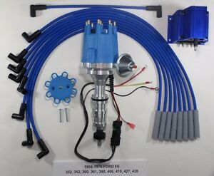 Small Cap Ford Fe 352 390 427 428 Blue Hei Distributor Coil Spark Plug Wires
