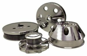 Chevy Small Block Swp Serpentine Pulley Set 6 groove Polished Billet Aluminum