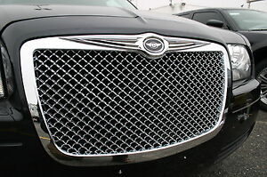 Fits 05 2010 Chrysler 300 Chrome Mesh Grille With Bentley Winged Emblem