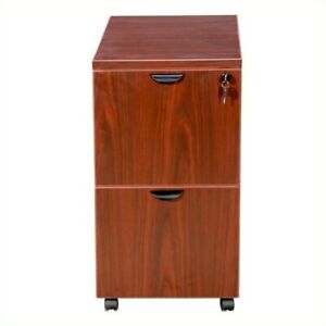Filing Cabinet File Storage 2 Drawer Mobile Wood In Cherry By Boss Office