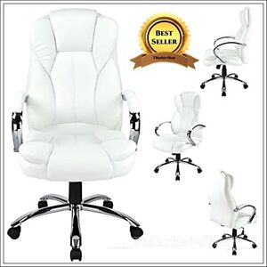 White Smart Executive Manger Office Chair Leather High Back Desk Conference Room