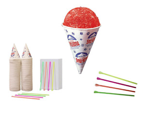 New 200 Snow Cone Cups 6 Oz And 200 Spoon Straws Shaved Ice Ice Cream