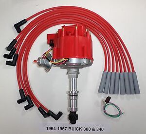 Buick Small Block 340 1964 1967 Hei Distributor Red 8mm Spark Plug Wires
