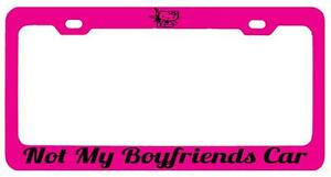 Pink Metal License Plate Frame Not My Boyfriends Car Hello Kitty Auto Accessory