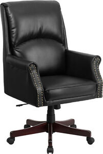 Flash Furniture High Back Pillow Back Black Leather Executive Swivel Office