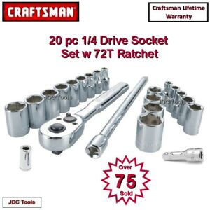 Craftsman Tool 20 Pc 1 4 Drive Inch Mm Socket Wrench Set W Extensions Adapter