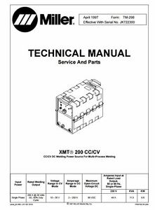 Miller Xmt 200 Cc cv Technical Manual Jk722300 Through Zz222222