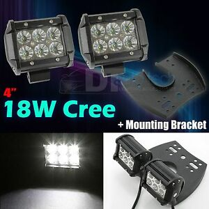 2x Fog Light 4 Cree Led 18w Spot Atv Uhf mounting Bracket Universal Fit