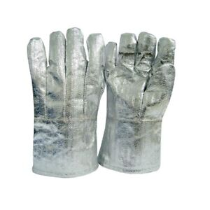 Bnwt High Temp Heat 800 c Resistant Aluminised Safety Fire Work Gloves L xlarge