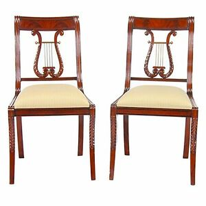 Ndrsc008 Niagara Furniture Pair Solid Mahogany Lyre Chair Or Harp Back Chair