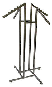 Clothing 4 way Rack Store Display Fixture 4 Waterfall Arms Chrome Lot Of 10 New