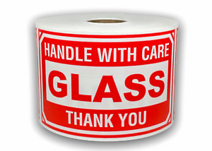 500 Big Labels 3x5 Glass Handle With Care Mailing Shipping Warning Stickers