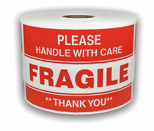 500 Big Labels 3x5 Please Fragile Handle With Care Shipping Warning Labels