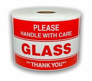500 Big Labels 3x5 Please Glass Handle With Care Shipping Warning Stickers