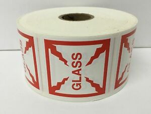 500 Small Labels 2x2 Red And White Glass Shipping Mailing Warning Stickers