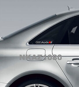 Audi Vinyl Decal Sticker Sport Racing Window Emblem Silver Red