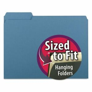 Smead Interior File Folders 1 3 Cut Top Tab Letter Blue 100 box smd10239