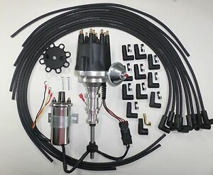 Ford Y Block 272 292 312 Black Small Cap Hei Distributor plug Wires chrome Coil