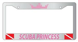 Chrome License Plate Frame Scuba Princess Pink W Flags Auto Accessory 1226