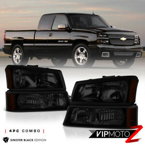 03 06 Chevy Silverado 03 05 Avalanche Sinister Black Smoke Headlight Bumper Lamp