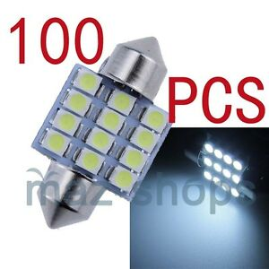Pure White 31mm 12smd Led Festoon Map Dome Interior Light Bulbs 12v 100 Pieces