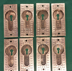 8 Matching Vintage Antique Brass Bronze Pocket Door Knob Keyhole Pull