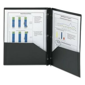 Smead Poly Two pocket Folder With Fasteners 8 1 2 X 11 Black 25 bx smd87725