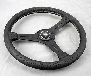 Nardi Classic Steering Wheel 360 Mm Black Perf Leather Grey Stitch Type A Horn