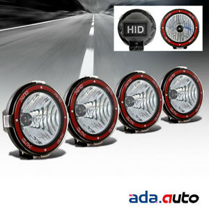4x 7 Hid 4x4 Off Road Lights Flood Lamps 6000k Super White W Rock Guard