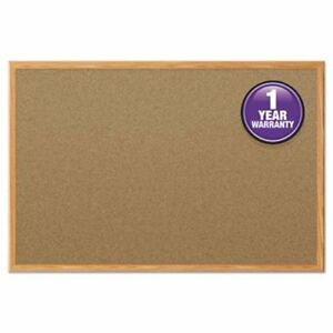 Quartet Cork Bulletin Board 36 X 24 Oak Frame mea85366