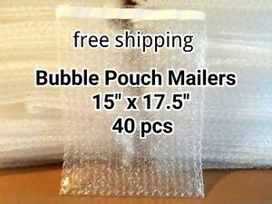 Lots Of 40 Pcs 15 X 17 5 Bubble Out Bags Pouches Self Seal Mailers Bags Clear