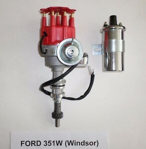 Ford 351w Windsor Red Small Cap Hei Distributor Chrome 45 000 Volt Coil