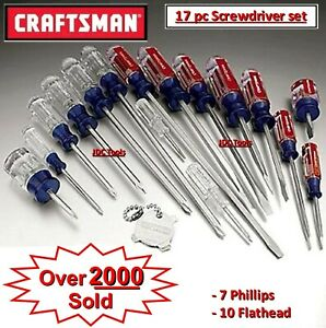 Craftsman Screwdriver Set 17 Pc 31794 Phillips Flat Head Slotted New Ships Fast