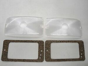 59 60 61 62 63 64 Ford Truck F100 Clear Park Light Lens Set W Gaskets New