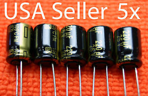 5x Panasonic Fm 220uf 25v Low esr Electrolytic Capacitor New Usa Seller