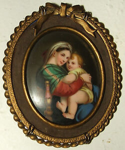 Antique 19th Century Victorian Madonna Child Kpm Hand Painted Framed Porcelain