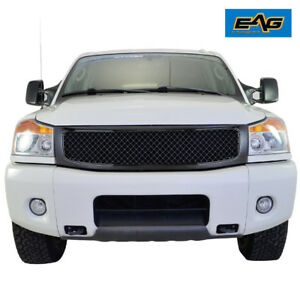 Fits For 04 12 Nissan Titan Mesh Grille Glossy Black Replacement With Shell