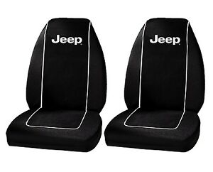 Jeep Logo Front Bucket Seat Covers Pair Black Polyester New Free Shipping Usa