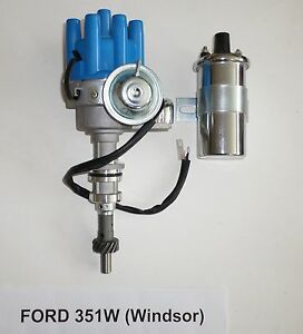 Small Block Ford 351w Windsor Blue Female Smll Cap Hei Distributor Chrome Coil