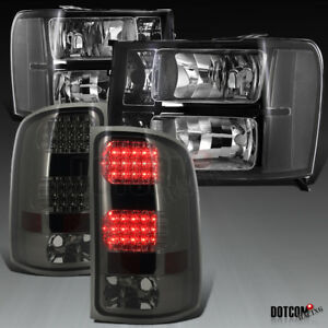 2007 2013 Gmc Sierra 1500 2500hd 3500hd Black Headlights Smoke Led Tail Lamps