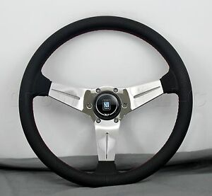 Nardi Steering Wheel Deep Dish Corn 350mm Black Perf Leather Polished Type A Hb