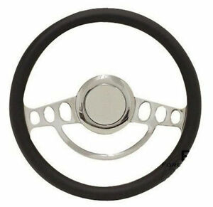 Hot Rod Street Rod Rat Rod Chrome Black Vinyl Steering Wheel 14 Nine Hole